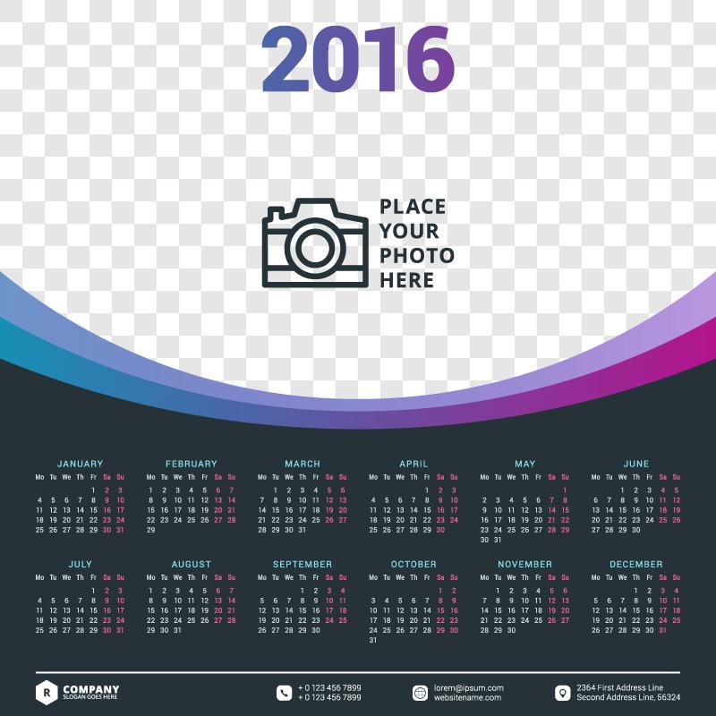 Big Photo Header Calendar 2016 Vector Free Vector