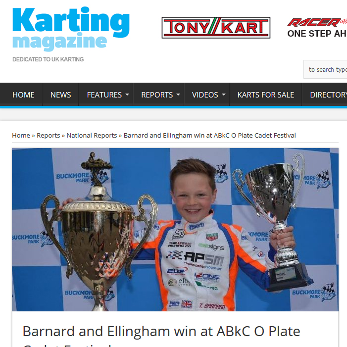 Barnard and Ellingham win at ABkC O Plate Cadet Festival