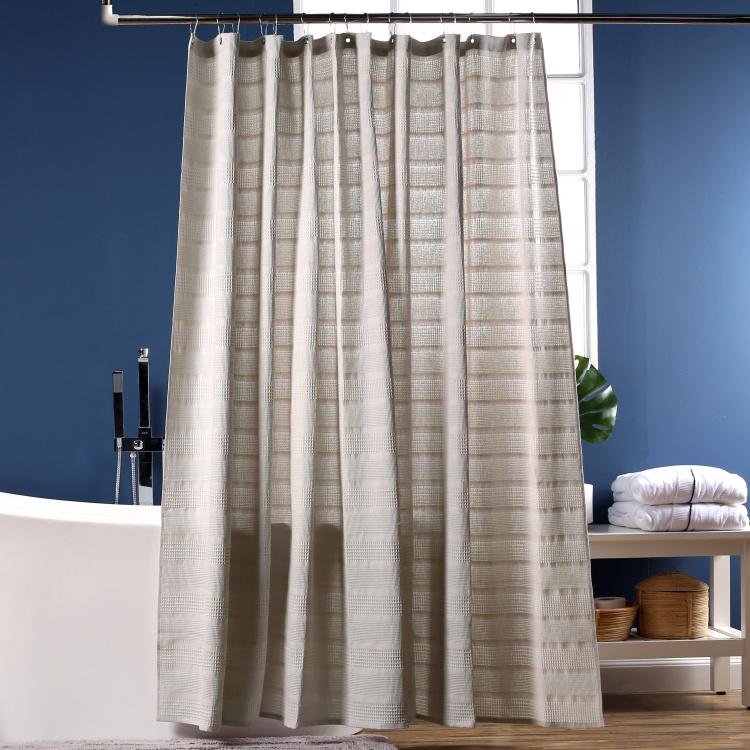 cotton waffle textured shower curtain 240x180 cms