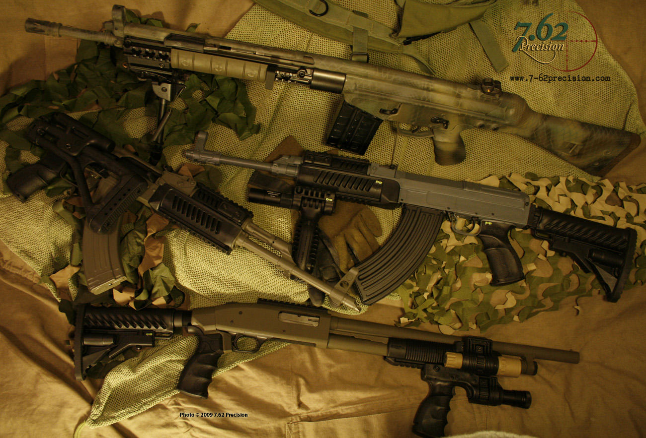AK-47, VZ-58, Mossberg 500 and CETME/HK G3 hybrid Prepped for Shot Show display for The Mako Group
