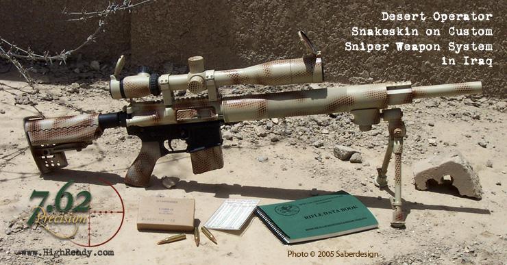 Desert Operator Snakeskin Pattern on Mk12 Sniper Rifle in Iraq