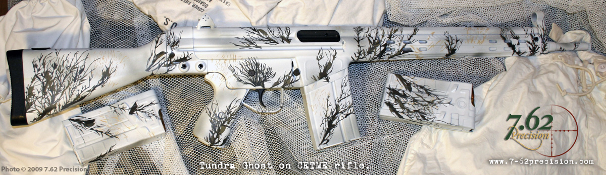 Century Arms CETME rifle finished in Tundra Ghost DuraCoat winter camo.