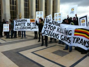Protesters in Paris call for human rights of LGBT people in Ugandan.