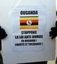"""""""Stop the Anti-Homosexuality Law in Uganda, Freedom and Tolerance!"""" says this protest sign."""