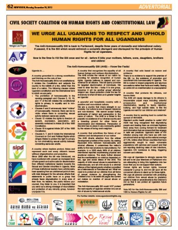 Ad opposing Anti-Homosexuality Bill