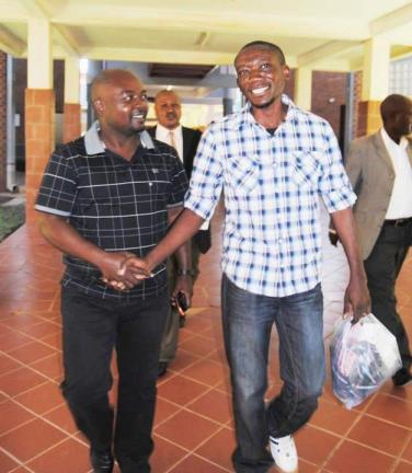 Paul Kasonkomona released (Photo courtesy of Zambian Watchdog)