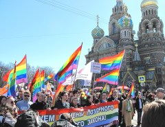 LGBT rights marchers in St. Petersburg, Russia, on May 1, 2013. (Photo courtesy of Coming Out)