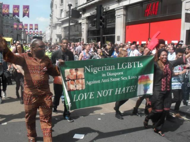 In London's pride parade, marchers from Nigeria called for their country to recognize the human rights  of LGBT people. (Photo courtesy of Facebook)