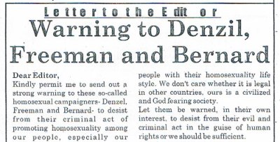 Threatening letter published in Sierra Leone.