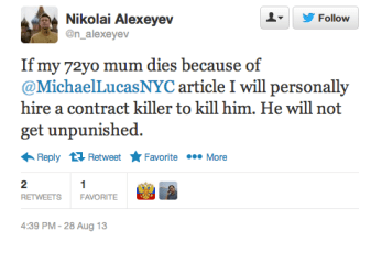 Nikolai Alekseev's death threat against Michael Lucas via Twitter.