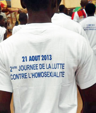 "Marchers on the ""Day Against Homosexuality"" in Cameroon."