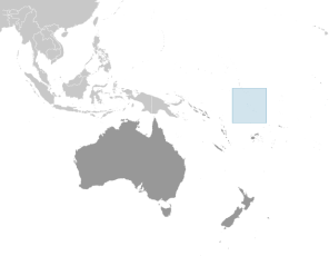 Location of Tuvalu islands in the South Pacific.