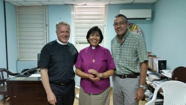 The Rev. Canon Albert Ogle with the Episcopal Bishop of Cuba, the Right Rev. Griselda Delgado del Carpio, with the Rev. Dr. Jose Antonio Bringas Linares, who is coordinator general of the diocese. (Photo courtesy of Albert Ogle)