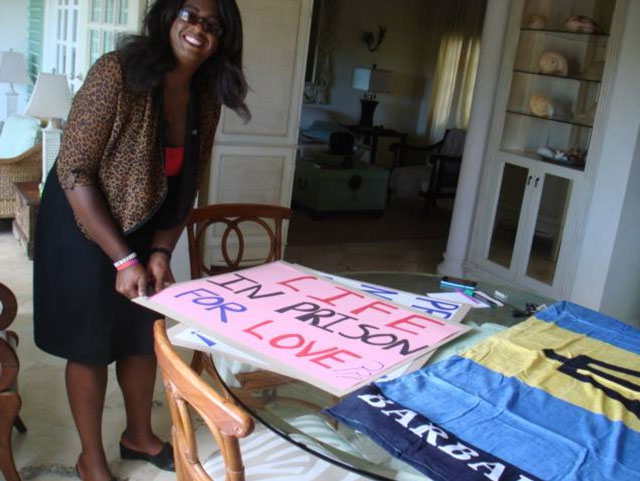 Barbadian trans activist Alexa Hoffman prepares for the Flash Stand for Equality and Inclusion on Aug. 19, 2015. (Photo courtesy of Maurice Tomlinson)