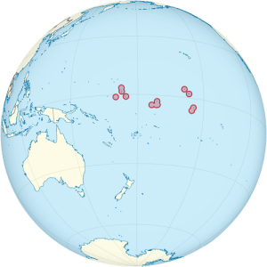 Located in the central Pacific Ocean, Kiribati consists of dozens of small islands. Their total area is about 300 square miles, with a total population of about 100,000 people. (Map courtesy of Wikipedia)