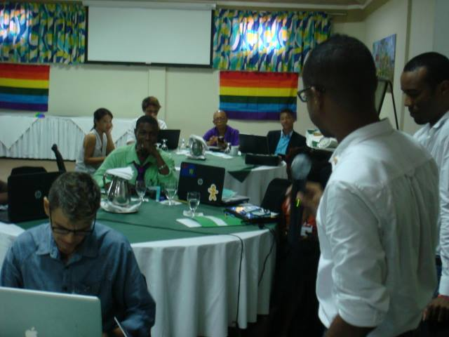 LGBTI rights activists and supportive attorneys confer in a three-day meeting at the Flamboyant Hotel in Grenada. (Photo by Maurice Tomlinson)