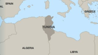 Location of Tunisia (Map courtesy of Human Rights Watch)