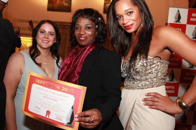 Elizabeth Funke Obisanya poses with her BEFFTA award and (on left) Sabrina Chiemeka, who played Magda, and Louisa Warren, who played the role of racist homophobe and bully Laura.