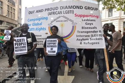 Out and Proud Diamond Group protest in September 2015. (Photo courtesy of OPDG)