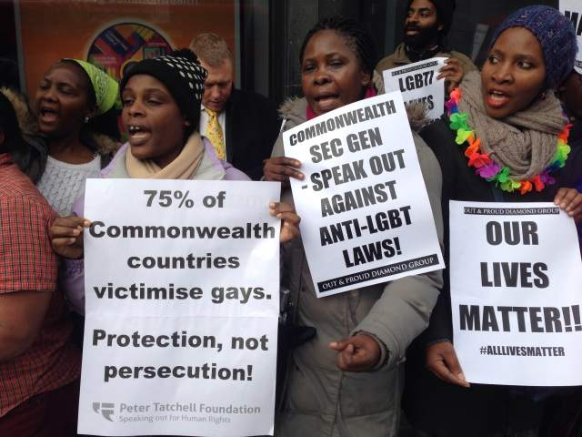 Demonstrators ralliy outside the London headquarters of the Commonwealth on Nov. 25, seeking repeal of anti-homosexuality laws. (Photo courtesy of Peter Tatchell Foundation)