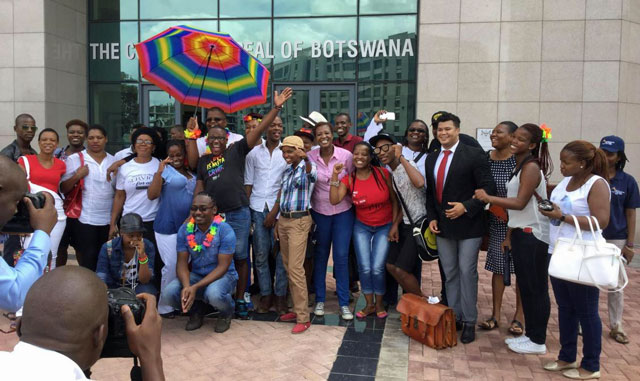 Legabibo members and supporters celebrate their victory outside the Court of Appeals of Botswana. (Photo courtesy of Legabibo)