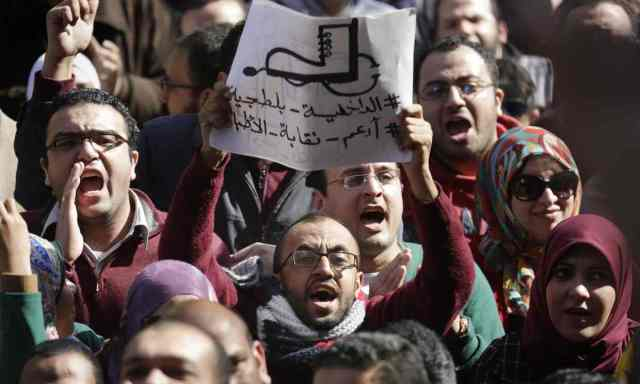 Egyptian doctors protest police abuses in February 2016. (Photo courtesy of the Guardian)