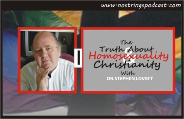 "Click the image to listen to the No Strings podcast ""The Truth About Homosexuality and Christianity."""