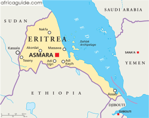 Location of Eritrea on the Red Sea. (Map courtesy of AfricaGuide.com)