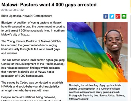 "Caption on Malawi News24 photo states, ""Despite vocal opposition in a number of African countries, acceptance [of LGBTI rights] is slowly gaining ground. """