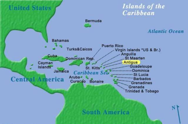 Location of Antigua in the Caribbean Sea. (Map courtesy of TuchmanTravelGuide.com)