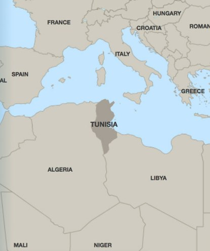 Location of Tunisia (Map courtesy of HRW)