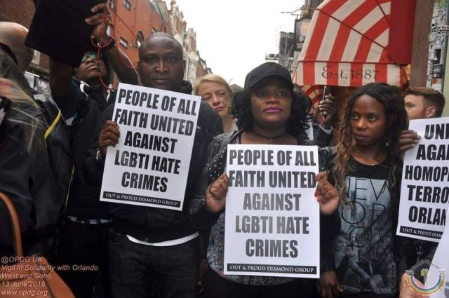 London vigil in memory of the victims of the June 12 massacre in Orlando, Florida. (Photo courtesy of Out and Proud Diamond Group / LGBTI Africans)