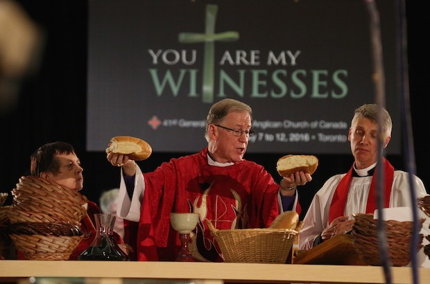 Archbishop Fred Hiltz, primate of the Anglican Church of Canada, celebrates the opening Eucharist at the church's recently concluded general meeting. (Photo courtesy of EpiscopalDigitalNetwork.com)