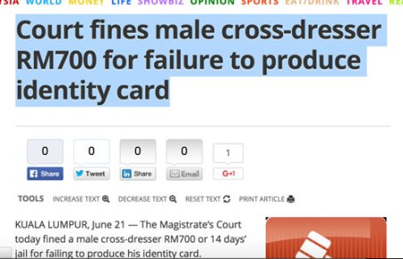 Headline in Malay Mail Online