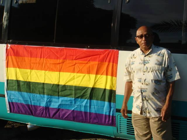 "George (""Tommy"") Tomlinson, father of activist Maurice Tomlinson, supported his son's work at Montego Bay Pride, Jamaica, on Oct. 25, 2015. (Photo courtesy of Maurice Tomlinson)"