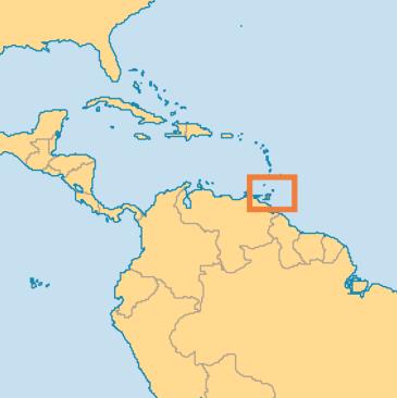 Location of Trinidad and Tobago off the coast of Venezuela. (Map courtesy of Operation World)