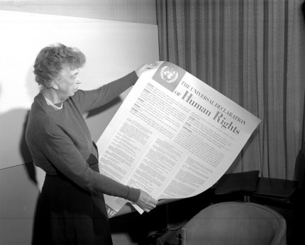 In 1948, Eleanor Roosevelt reads from the Universal Declaration of Human Rights. (Photo courtesy of UN.org)
