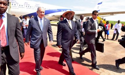 Israeli Prime Minister Benjamin Netenyahu visits Uganda in 2016. (Photo courtesy of Reuters)