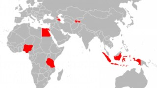 Map shows locations of recent anti-LGBT crackdowns -- in Africa, Egypt, Nigeria and Tanzania; at the border of southeastern Europe and western Asia, Chechnya and Azerbaijan; in central Asia, Tajikistan; and in Asia/Oceania, Indonesia.
