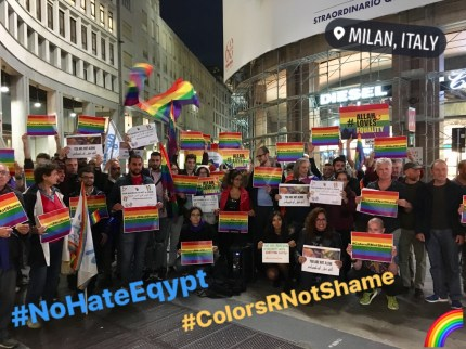 Protesters in Italy oppose Egypt's anti-LGBT crackdown.