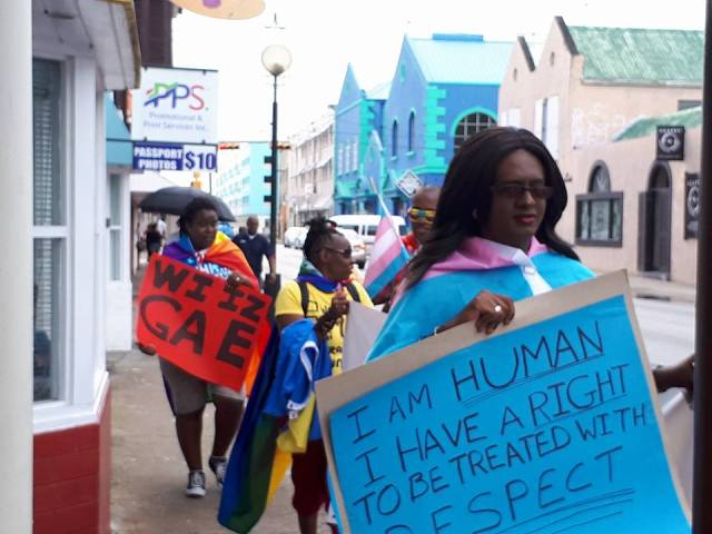 Alexa D.V. Hoffmann marches at Barbados Pride 2017. (Photo courtesy of Maurice Tomlinson)