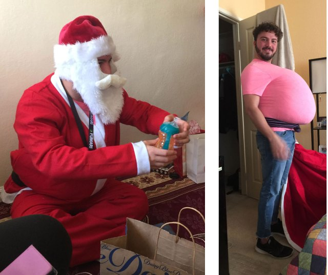 Left: As Baba Noel, Saleh Al-Bayati passed out gifts to 16 Afghan children and their parents. Right: As he prepared to put on the costume of Baba Noel, Saleh at first added too much padding. (Photos courtesy of Linda Miles)