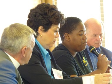 LGBTI rights discussion in San Diego with panelists (left to right) the Rev. Albert Ogle; Susan Guinn, past president of the St. Paul's Foundation board; Angeline Jackson, co-founder of Quality of Citizenship Jamaica; and Colin Stewart, new president of the board.