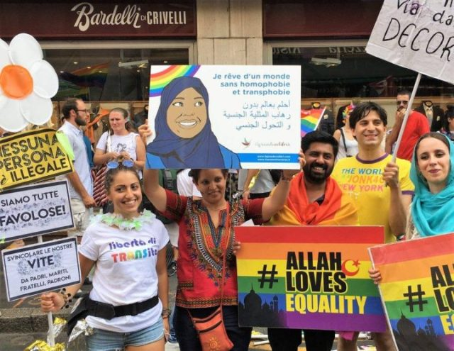 LGBT rights demonstrators in Italy display