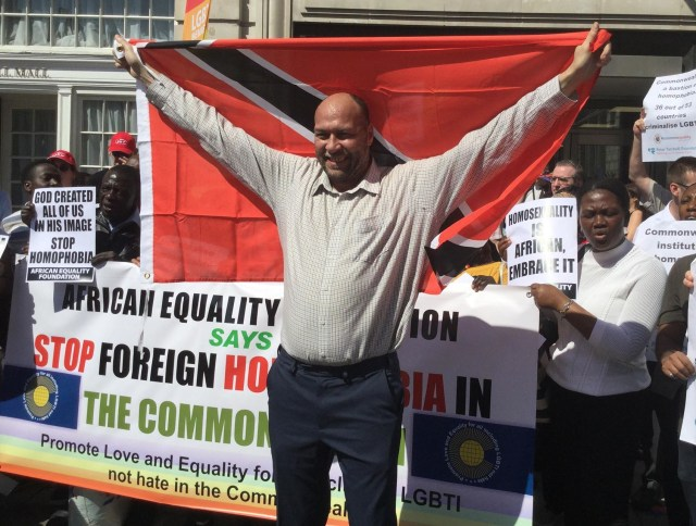 Activist Jason Jones, a native of Trinidad living in the U.K., attended the rally. (Photo courtesy of Edwin Sesange)