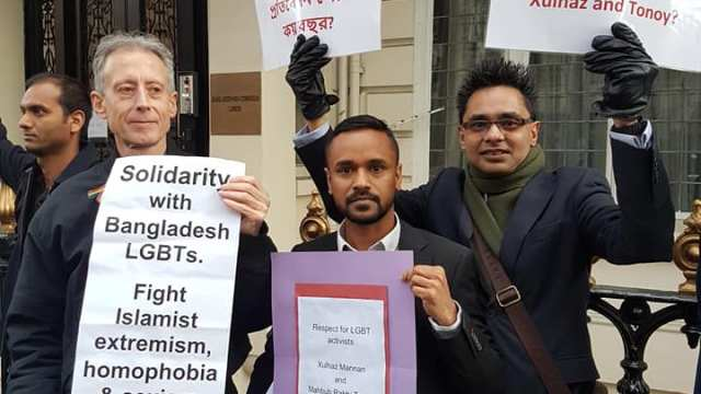Gay rights activists Peter Tatchell (left) and Riaz Osmani (right) were among the protesters demanding action from Bangladeshi authorities in the case of the 2016 murders of who investigated the 2016 murders of Xulhaz Mannan and Tonoy Mojumdar. (Photo courtesy of Riaz Osmani)