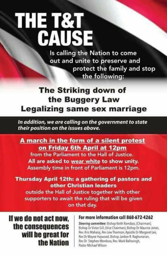 Poster promotes a planned April 6 march by supporters of Trinidad & Tobago's buggery law.