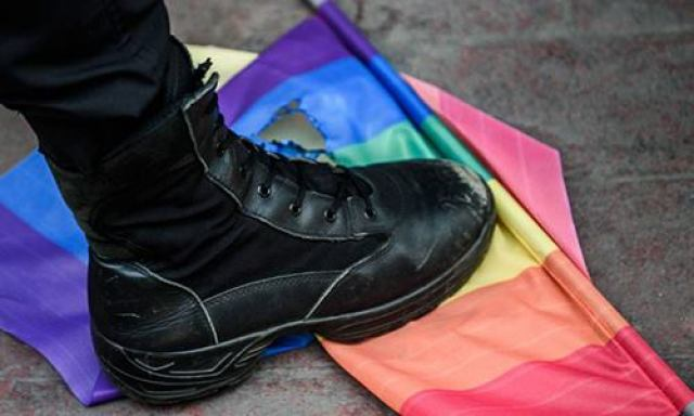 This image of a boot trampling a rainbow flag is being used by defenders of the men arrested in Cameroon.