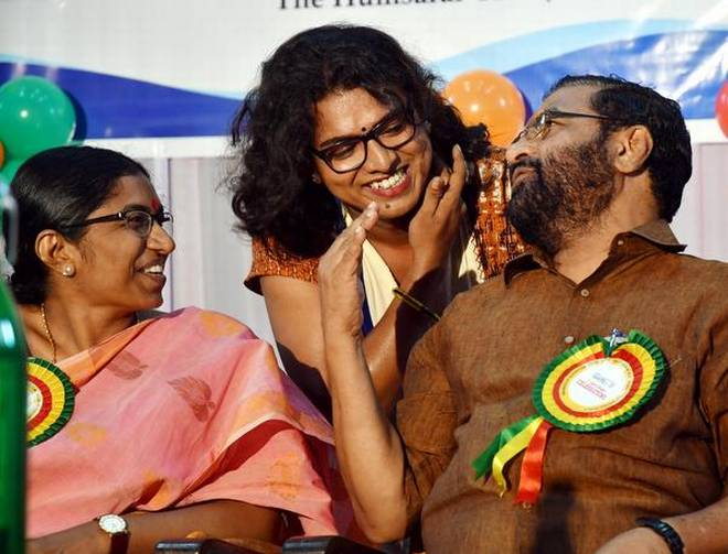 Minister for Tourism Kadakampally Surendran and State Literacy Mission Authority Director P.S. Sreekala with Transgender Cell State Project Officer Shyama S. Prabha at the inaugural ceremony of the first anniversary of Queerythm in Thiruvananthapuram on Saturday. | Photo Credit: S. GOPAKUMAR