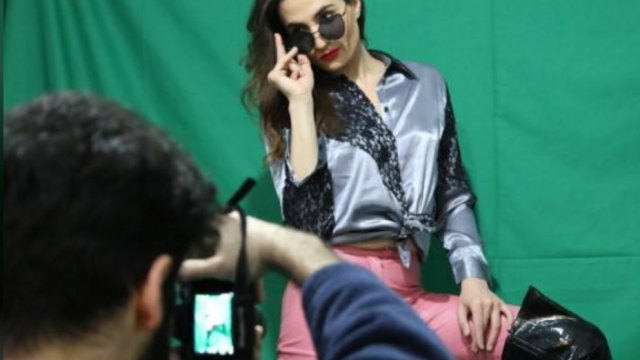 Scene from a photo shoot for Lebanese trans model Sasha Elijah (Heba Kanso photo courtesy of Thomson Reuters Foundation)